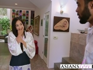 Asian girl pleased with black cock