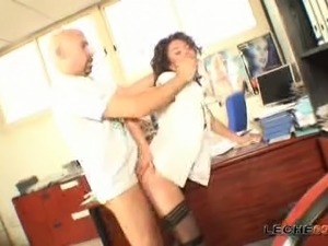 Experienced brunette MILF is butt fucked brutally in the office