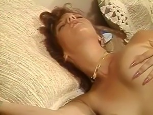 Sweet cock craving white milf on the bed with her man