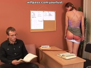 Bad girl is spanked and punished by strict young teacher
