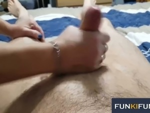 This masked mature slut knows how to give a handjob and she is hardly shy