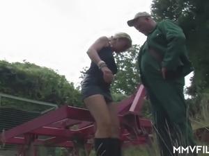 Cheap street hooker Claudia blows strong cock of fat man outdoors