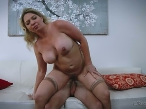 Extremely heavy huge breasted cowgirl Kiki Daire jumps on massive dick