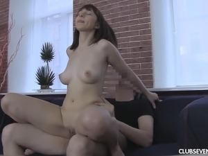 Cute brunette babe Marina J bends over for a hard boner