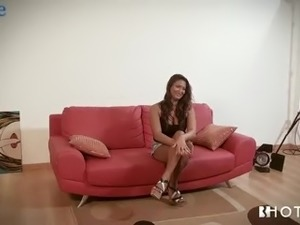 Hot casting with charming busty Rebecca Pinar ends up with hot blowjob