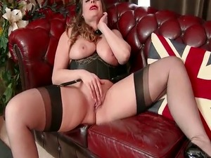 Natural big tits brunette Sophia Delane strips to nylons leather heels