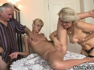He finds her in 3some orgy with his olds