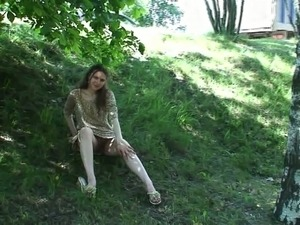 Sweet Russian teen babe by the highway flashes her pussy