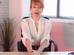 Mature slutty boss Red has got a dildo to pet her old cunt in the office