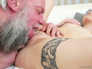Old bearded man loves to eat pussy before sex and he is such a pervert