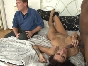 White chick gets fucked by Black dude in front of her hubby