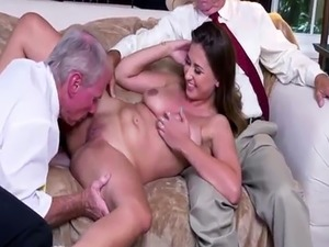 Old man doggy Ivy impresses with her large funbags and ass