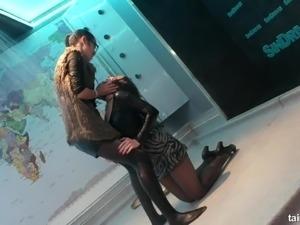 Fine ass lesbian in miniskirt dancing in the party porn scene