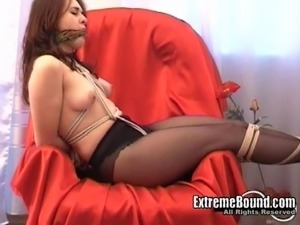 Fabulous Russian woman in pantyhose shown what rope play feels like