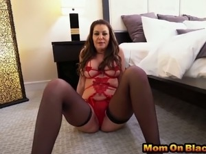 Pounding horny milf with two black cocks
