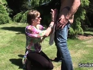 Cheating british milf lady sonia presents her monster breast
