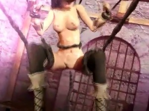 3D Girl Wrecked by Aggressive Tentacles!