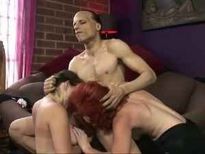 Callie Dee and Sasha Brand fuck a horny guy in FFM 3some