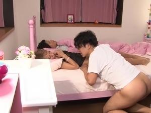 Japanese MILF Reika Aiba fucking while her husband is sleeping