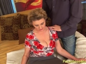 Big natural breast hairy mom gives a hot tit fuck and gets massive cum on her...