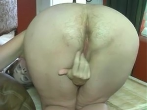 Perverted fatso with big tits flashed my buddy her hairy asshole