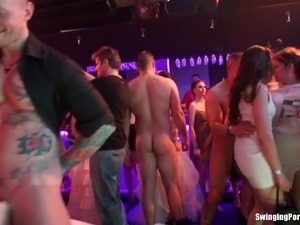 Cool club party turns into a full blown groupsex action