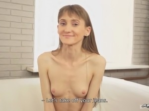 GF is a skinny European hottie with small tits and a shaved tight pussy.