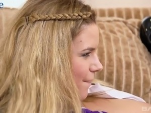 Blond college chick Marina Visconti is testing double ended dildo toy with...