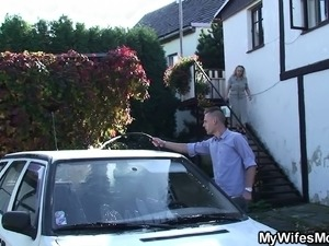 Her boyfriend cheating with blonde motherinlaw outside