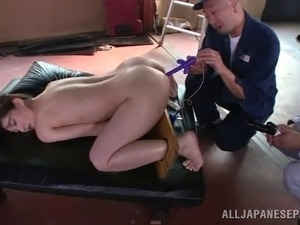 Impassioned Asian cowgirl tied up like a slave then gets ravished with toys...
