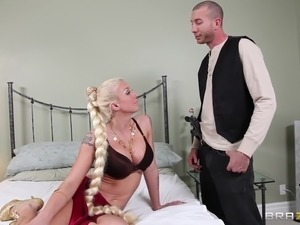 Tattooed blonde cougar takes cumshot after anal smashed Hardcore