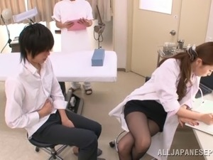 Vivacious Asian dame in miniskirt delivering superb handjob then blowjob in...