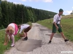 Ardent Czech blondie Nikki Dream meets two Bavarian men and enjoys 3some
