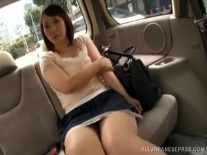Brilliant Asian cowgirl in miniskirt masturbating using vibrator in pov shoot