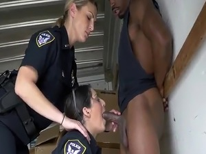 Interracial double Black suspect taken on a rough ride