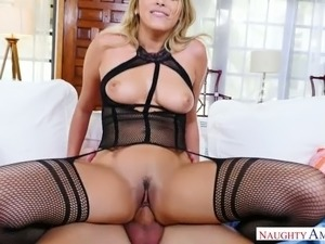 Almost nonstop cock ride with busty light haired hottie Stephanie West
