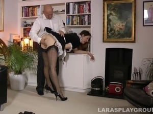 Horny tight anal maid needs huge dildo in both her holes with bald boss