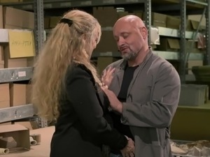Messy haired supply manager Nicole gets pounded by horny worker rather hard