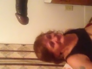 Red haired perverted mature lady sucked super long black cock