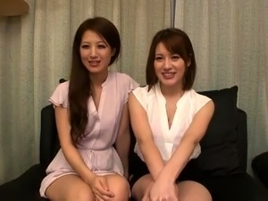 Busty babe in japanese threesome