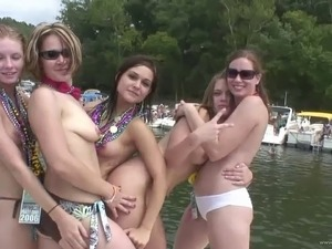 Hot amateur cowgirls in bikini getting spanked in loose outdoor party
