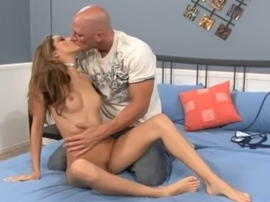 Skinny pornstar with nice ass rides big cock cowgirl style