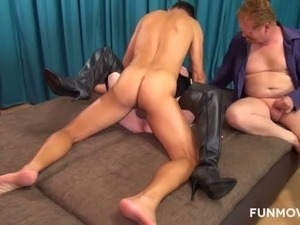 Lewd cuckold hubby sucks ugly wife's tits while she is fucked missionary