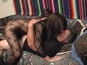 Cougar wife with long hair gets licked and rides cock in reality scene