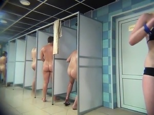 Hot amateur girls expose their bodies in the public shower