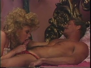 Guy with mustache drills a formidable blonde's dripping vagina