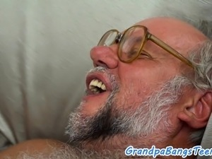 Busty eurobabe sucking and cockriding grandpa
