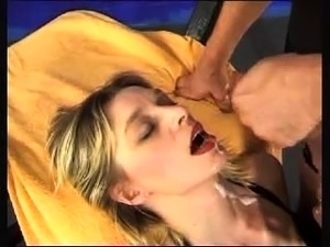 Nasty blonde in stockings gets her tight cunt stretched out