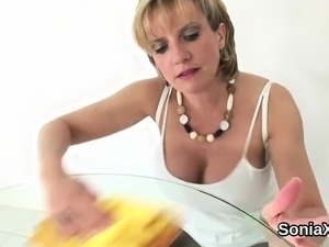 Cheating english mature lady sonia flashes her enormous boob