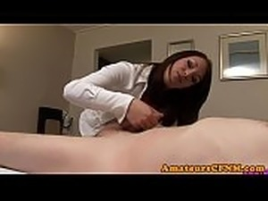 Fullyclothed british babe sucks off lucky guy